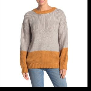 Elodie Knitted grey & caramel chunky knit sweater